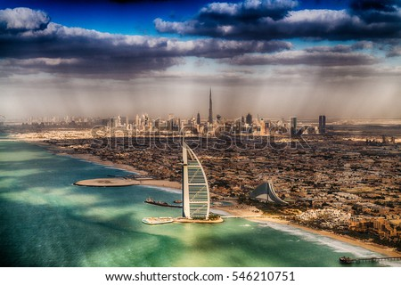 Aerial view of Dubai coastline, UAE.