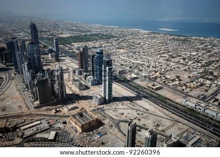 Aerial view of Dubai (United Arab Emirates) - stock photo