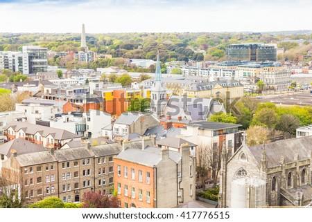 Aerial view of Dublin, Ireland - stock photo