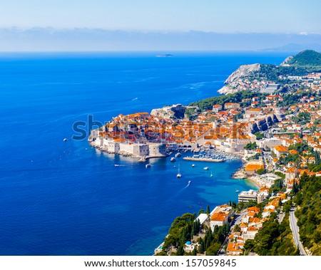 Aerial view of Dubronik, Croatia - stock photo