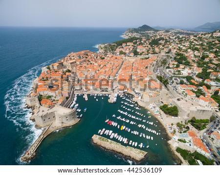 aerial view of Dubrovnik, Croatia. - stock photo