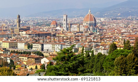 Aerial view of Duomo Cathedral in Florence Italy - stock photo