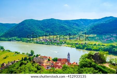 aerial view of Durnstein village situated in wachau valley in Austria - stock photo