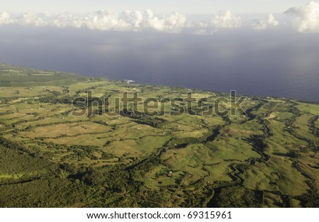 Aerial view of eastern coast of Big Island after sunrise - stock photo