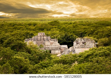 Aerial view of Ek Balam (black jaguar) surrounded by jungle. Mayan archaeological site in Yucatan, Mexico - stock photo