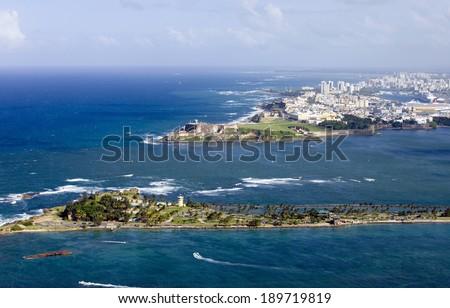 Aerial view of El Morro in Old San Juan Puerto Rico.   - stock photo