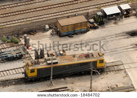 Aerial view of electric locomotive at freight depot