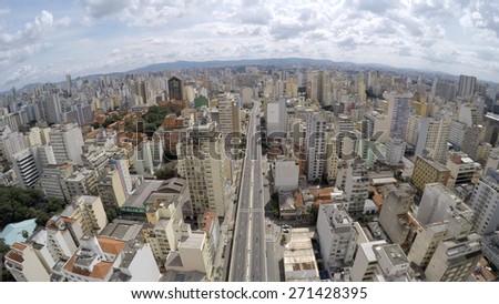 Aerial View of Elevado Presidente Costa e Silva (also known as Minhocao) in Sao Paulo, Brazil - stock photo
