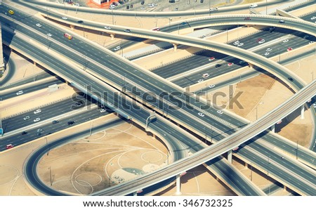 Aerial view of Elevated Interstate Interchange. - stock photo
