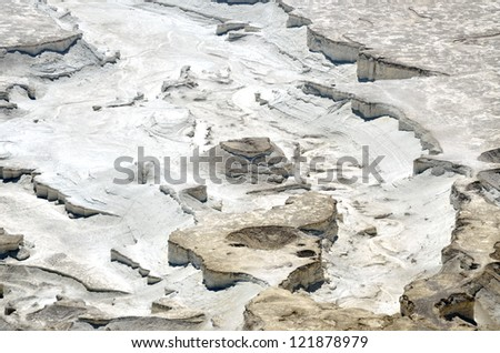Aerial view of erosional relief near Dead Sea in Judea desert, Israel. - stock photo