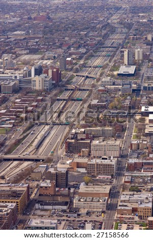 Aerial view of expressway through Chicago - stock photo
