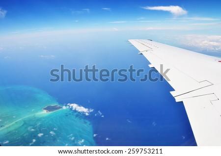 Aerial view of Exuma Cays. Bahamas - stock photo