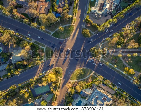 Aerial view of famous 6-way stop street intersection in Beverly Hills, Los Angeles, California. - stock photo