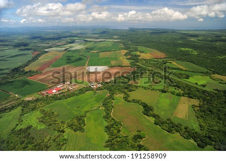 Aerial view of farm fields in Costa Rica - stock photo