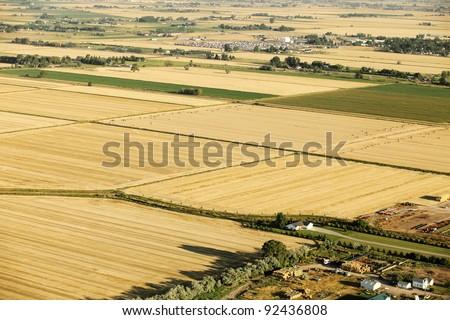 Aerial view of farmland - stock photo