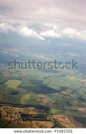 Aerial view of farmland area landscape from airplane. Photo taken near Stansted (London) airport - stock photo