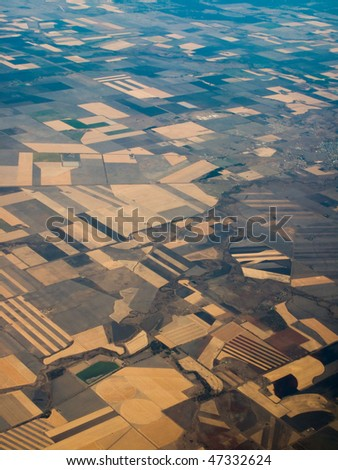 Aerial view of farmland in Queensland Australia showing pattern of crop areas - stock photo