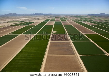 Aerial view of farmland north of Casa Grande - stock photo