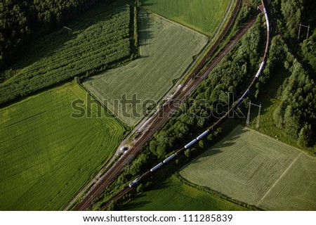 Aerial view of fields - stock photo