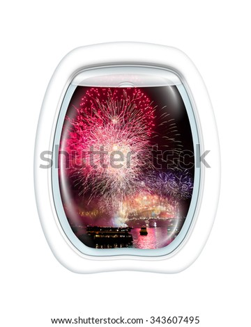 Aerial view of fireworks at Harbour Bridge in Sydney bay at midnight for the new years eve, on board of a plane through the porthole window. Copy space. - stock photo