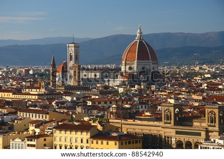 Aerial view of Florence ant its famous Cathedral (Duomo). - stock photo