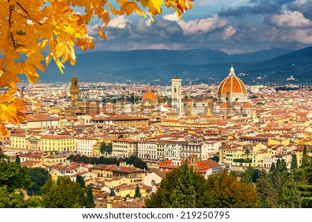 Aerial view of Florence, Italy - stock photo