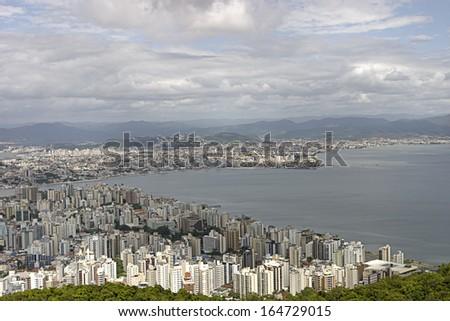 Aerial view of Florianopolis - Santa Catarina - Brazil - stock photo