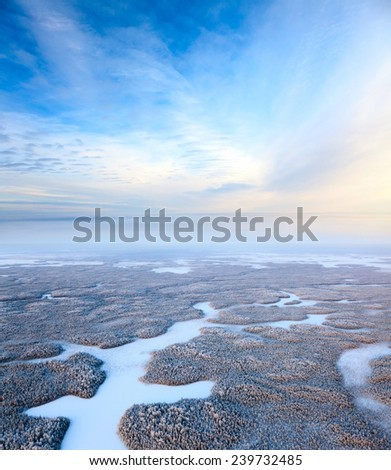 Aerial view of forest during cold winter day. Magnificent hoarfrost is on trees.  A winter forest is in a hard frost. - stock photo