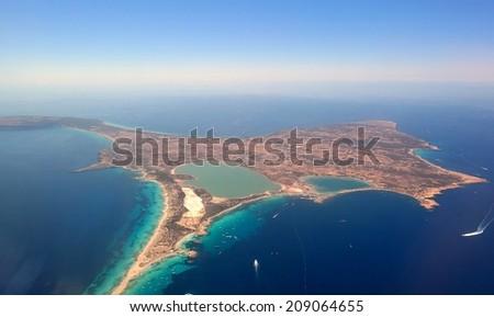 Aerial view of Formentera. Island near Ibiza. - stock photo