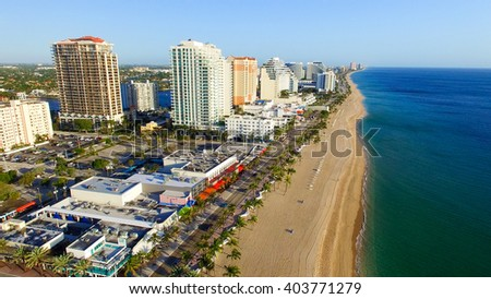 Aerial view of Fort Lauderdale, Florida. - stock photo