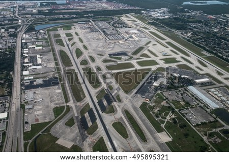 Aerial view of Fort Lauderdale, Hollywood International Airport, USA