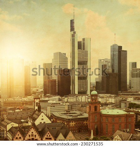 Aerial view of Frankfurt at sunset.Grunge and retro style. - stock photo