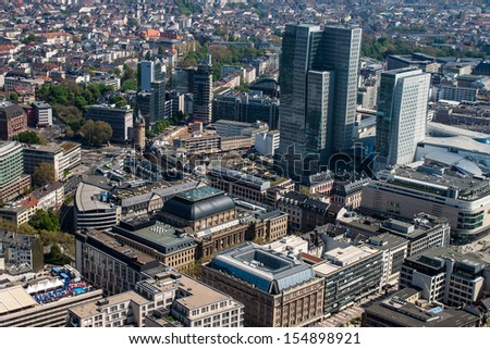 Aerial view of Frankfurt, Germany - stock photo