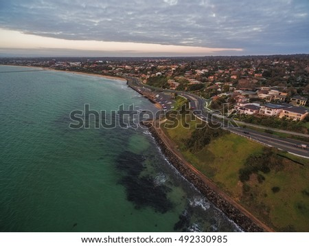 Aerial view of Franksotn coastline near Olivers Hill at sunset. Mornington Peninsula, Victoria, Australia