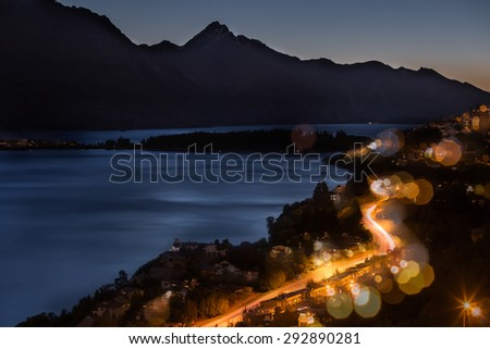 aerial view of Frankton Road Nightscape, Queenstown, New Zealand - stock photo