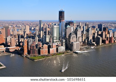 Aerial view of Freedom Tower, New York - stock photo