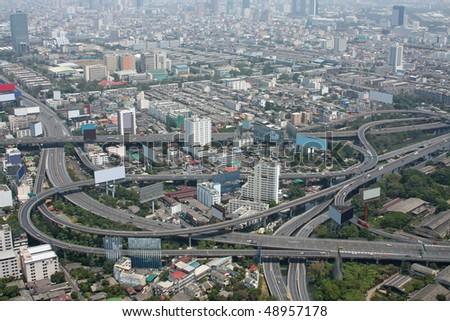 Aerial view of freeway interchange. Taken from Bayoke Sky Tower, Bangkok, Thailand - stock photo
