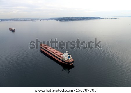 Aerial view of freight stop in the bay - stock photo