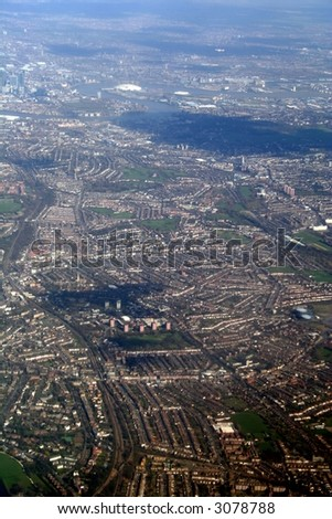 aerial view of  from flight and london beneath