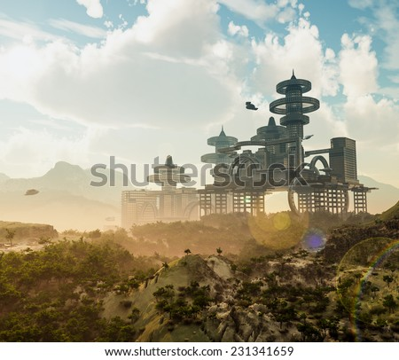 aerial view of Futuristic City with flying spaceships - stock photo