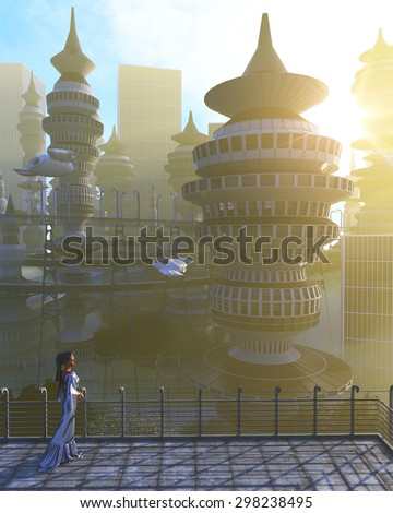 aerial view of Futuristic City with flying spaceships and fantasy woman - stock photo