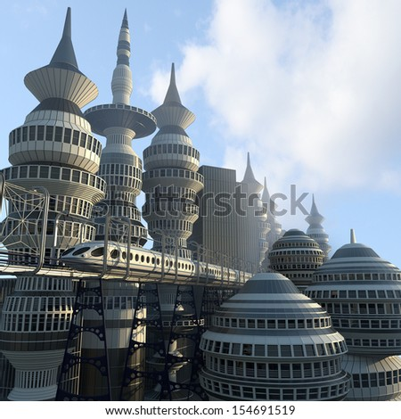 aerial view of Futuristic City with train - stock photo