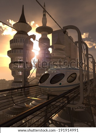 aerial view of Futuristic City with train and sunset technology concept - stock photo