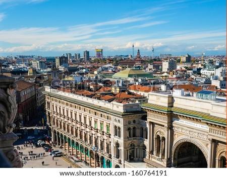 Aerial view of Galleria Vittorio Emanuele and duomo square in Milan - stock photo