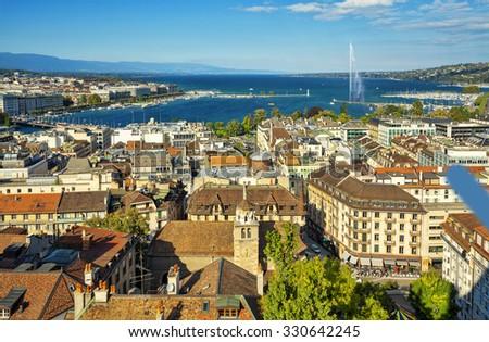 Aerial view of Geneva and the lake, Switzerland. - stock photo