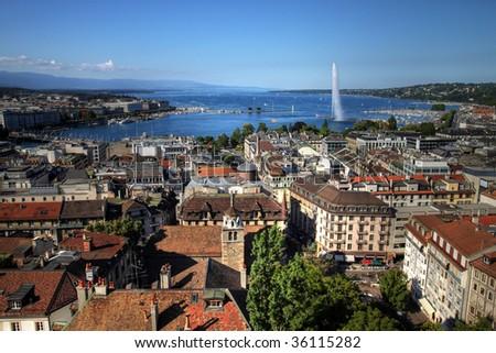 Aerial view of Geneva (Geneve/Genf), Switzerland - stock photo