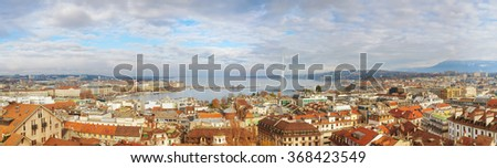 Aerial view of Geneva, Switzerland on a cloudy day - stock photo