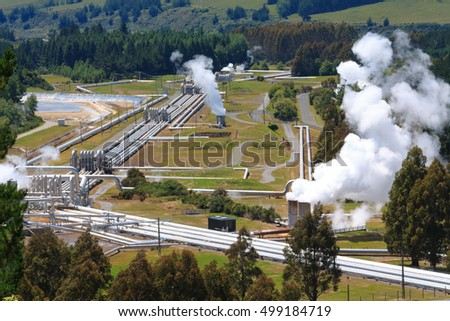 Aerial view of  geothermal power station, New Zealand
