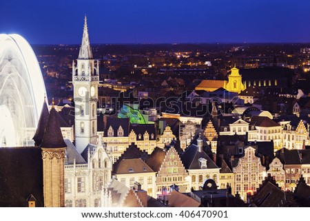 Aerial view of Ghent at night. Ghent, Flemish Region, Belgium. - stock photo
