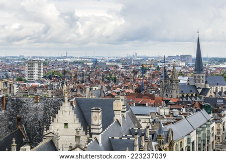 Aerial view of Ghent from Belfry - roofs and beautiful medieval buildings. Ghent is a city and a municipality located in the Flemish region of Belgium.